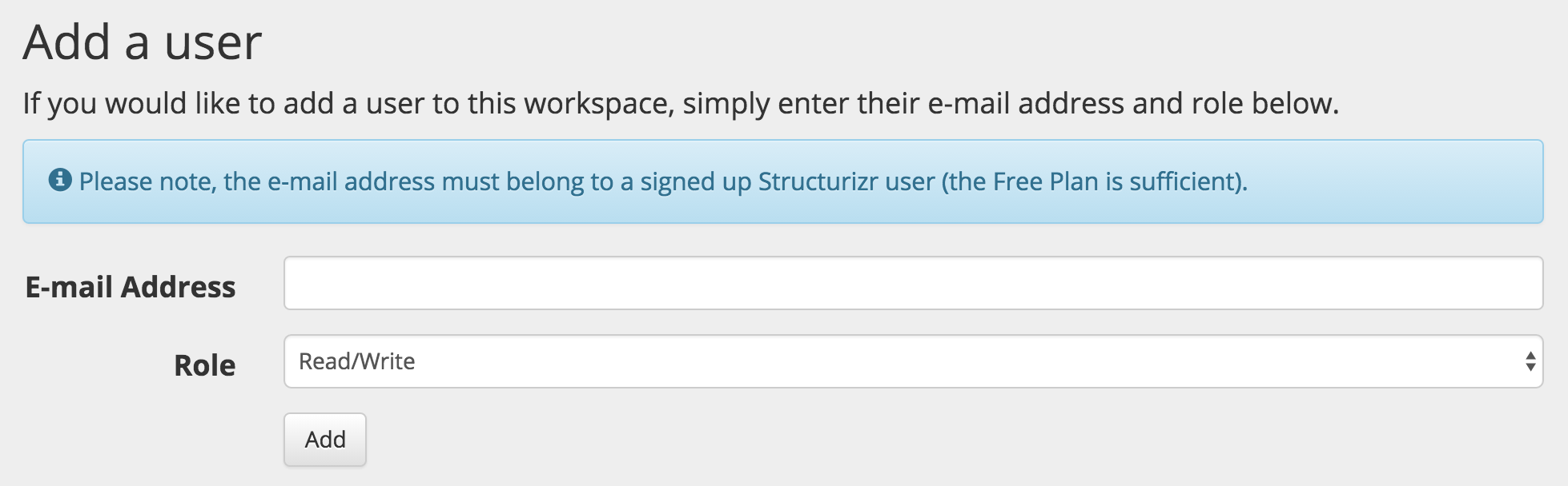 Adding a user to a workspace